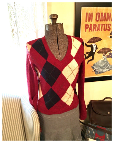 Red Argyle Sweater Size Large - Medium