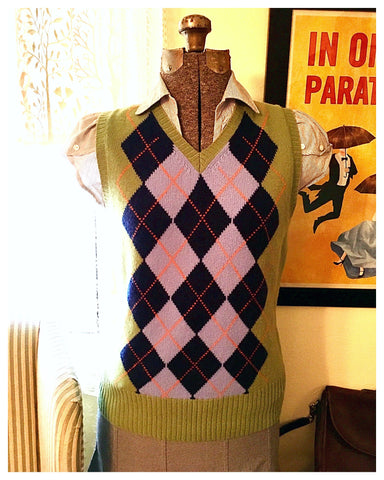 Green Argyle Sweater Vest Size Small