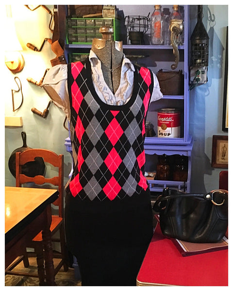 Red Argyle Sweater Vest Size 1X