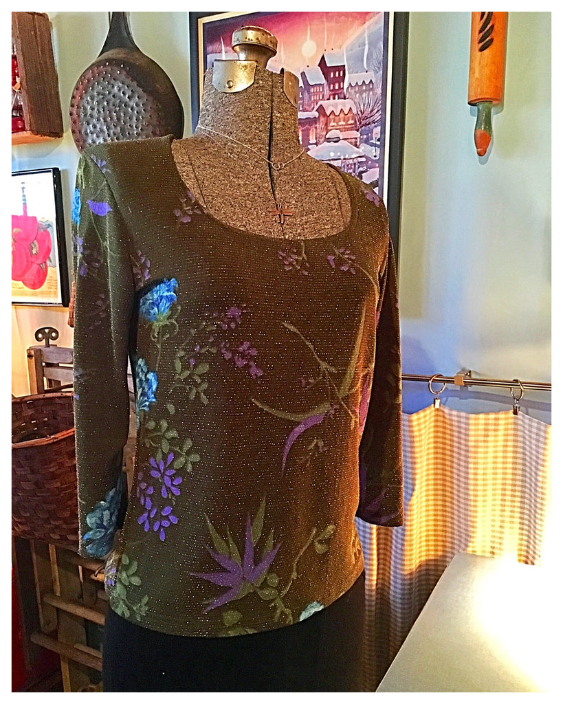 Floral Sparkle Top Size Medium - Large