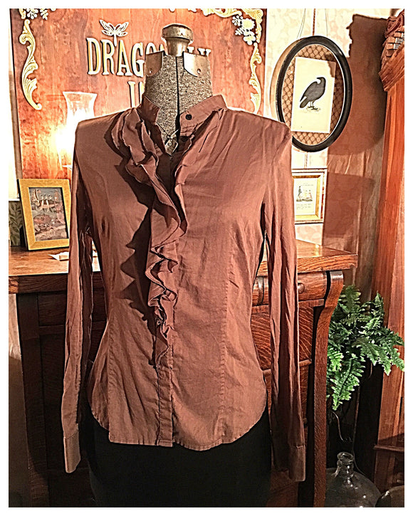 Brown Ruffle Front Button Up Size Small