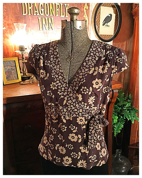 Brown Silk Floral Wrap Blouse Size 4 Small / Medium
