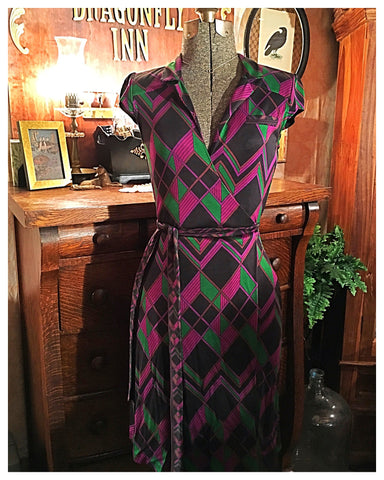 DVF Purple Deco Wrap Dress Size 4 Small