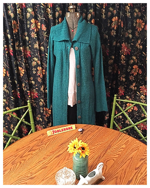 Long Sweater Cardigan Deep Turquoise Size Small Medium
