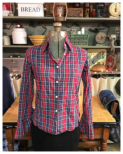 Red Plaid Long Sleeve Button Up Size 4 Small