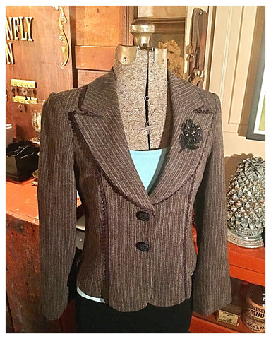 Stripe Blazer Jacket Size 8 Medium - Large