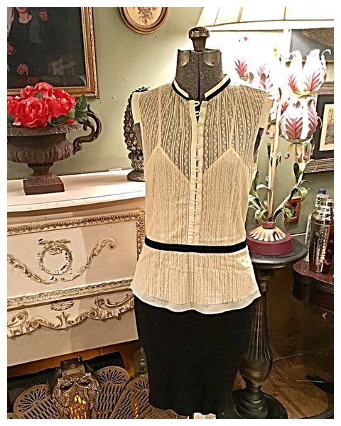 White Lace Blouse Size 4 XS - Small