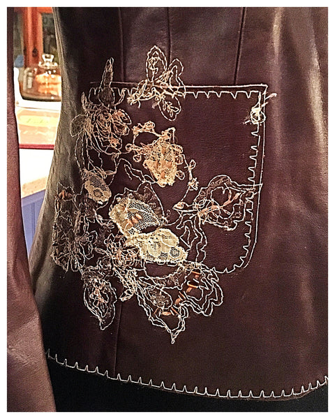 Brown Leather Embroidered Dress Jacket Blazer Size Medium