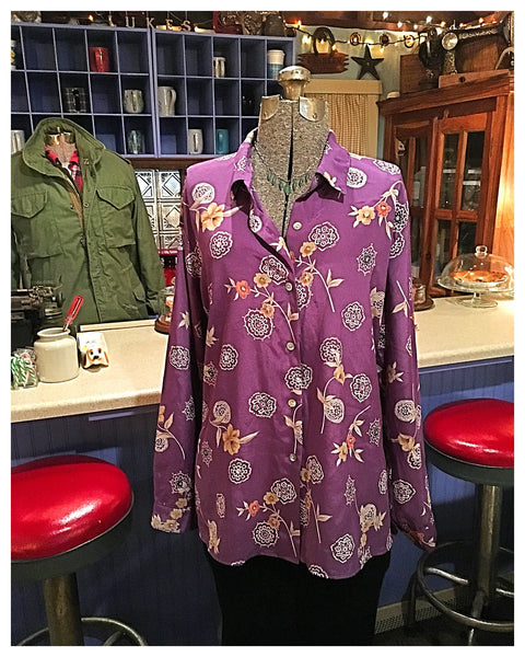 Purple Floral Button Up Blouse Size 16 1X - 2X