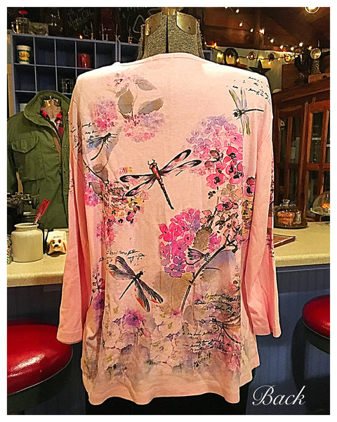 Pink Dragonfly 3/4 Sleeve T Shirt Top Size 2X