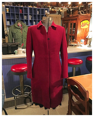 Long Crimson Red Coat Size 8 Medium - Large