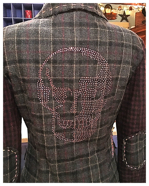 Tweed Embroidered Crystal Studded Skull Jacket Blazer Size Small