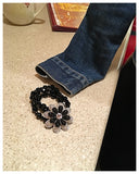 Black Beaded and Jeweled Flower Bracelet