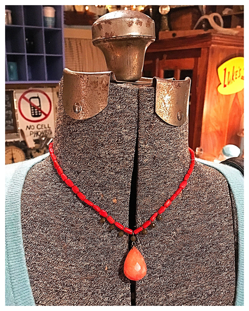 Red Bead & Peach/Coral Stone Teardrop Necklace