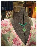 Green & Turquoise Leaf Drop Necklace