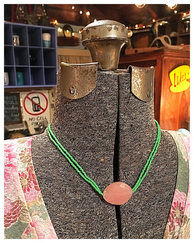 Pink Stone & Green Beaded Necklace