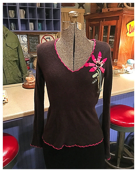 Brown Cashmere Flower Sweater Size Small