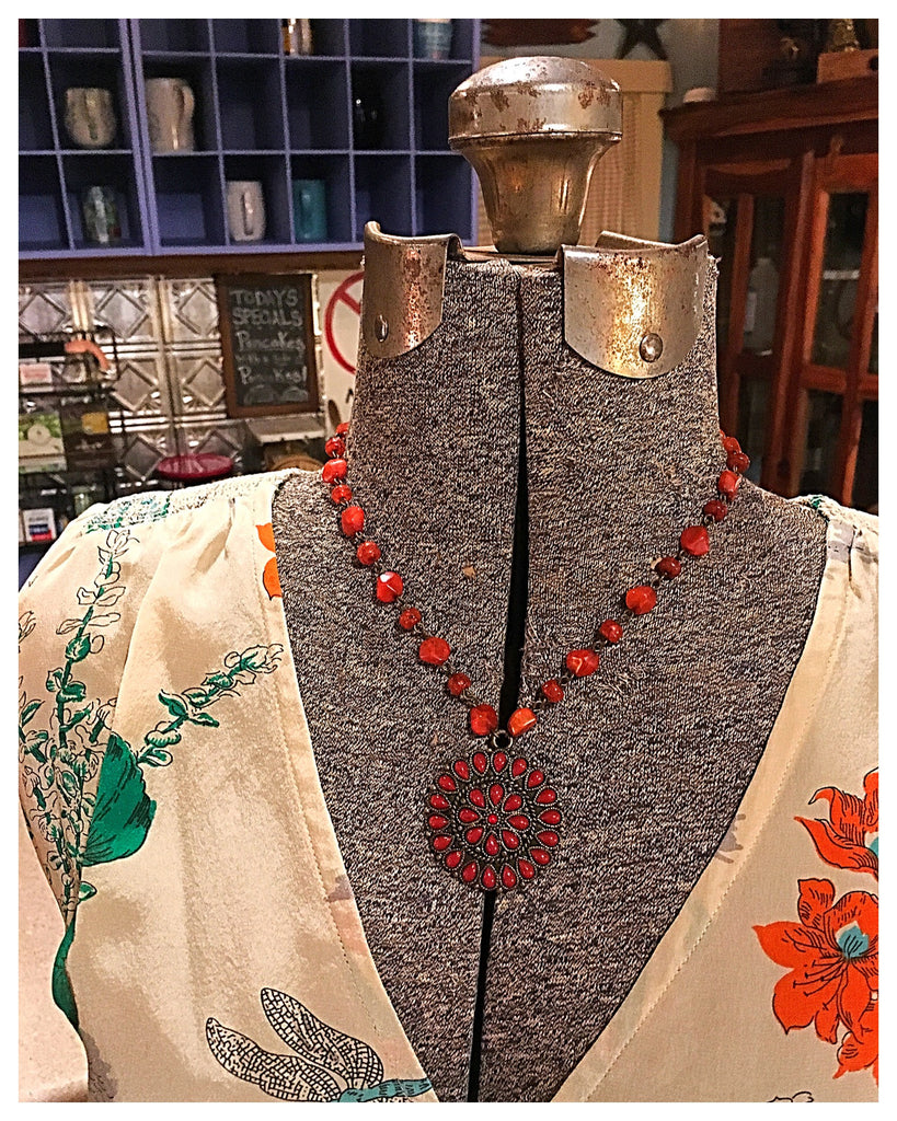 Burnt Orange Medallion Necklace