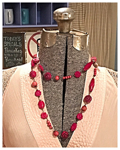 Long Red Beaded Necklace