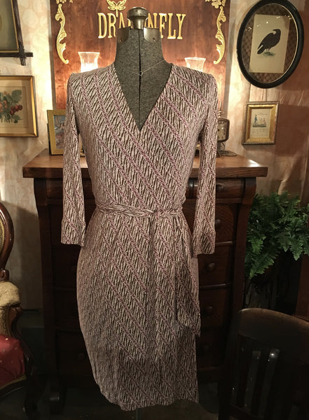 DVF Pink Wrap Dress Size 4 Small
