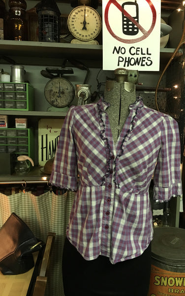 Cranberry Plaid Blouse Size 4 Small