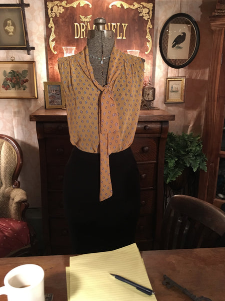 Yellow Neck Tie Blouse Large
