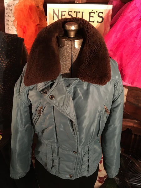 Blue Jacket Coat Faux Removable Trim Size Medium