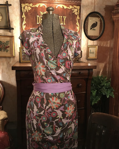 DVF Colorful Wrap Dress Size 6 Small / Medium