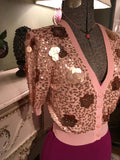 Sequined Pink-Peachy Cardigan Medium