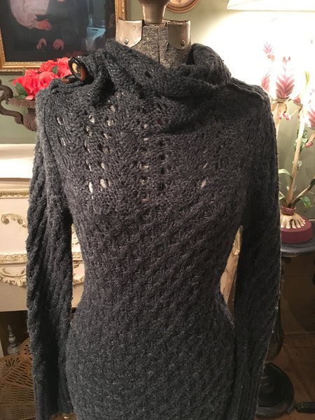 Gray Knit Sweater Dress Small