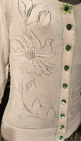 Cream & Green Cardigan  Size Small