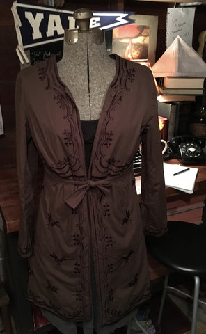 Brown Embroidered Coat Size Medium