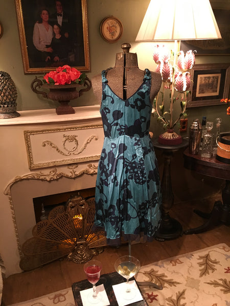 Blue Silk Dress Size 8 Large Medium