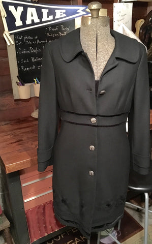 Black Embroidered Coat Medium
