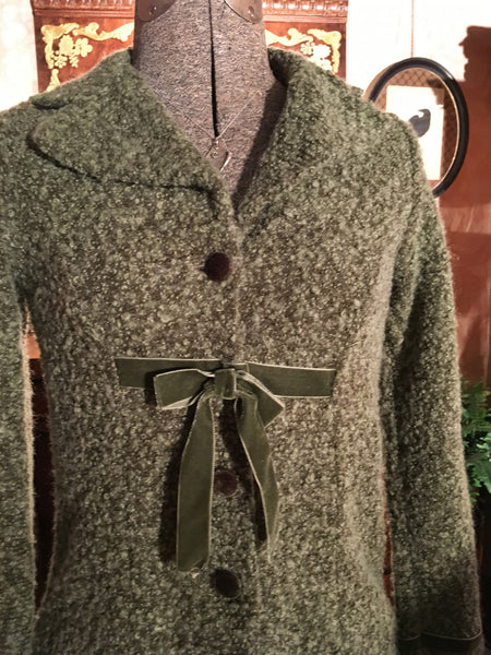 Green Sweater Coat Size Small