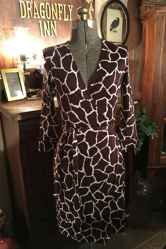 DVF Giraffe Print Wrap Dress Size 10 Large