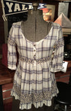 Plaid Floral Peasant Blouse XS Small