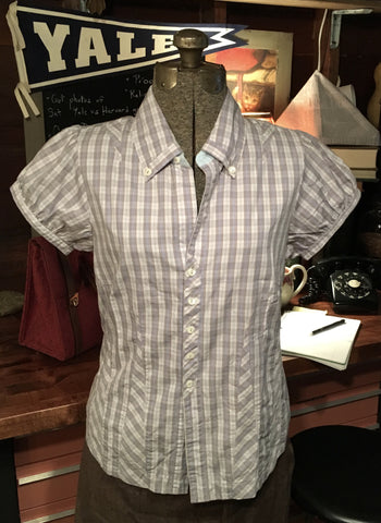 Short Sleeve Plaid Button Up Size 12 Large / XL