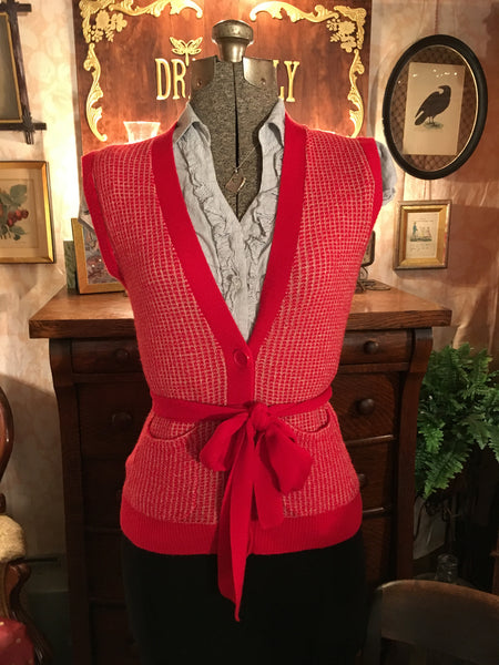 Red and White Button Up Sweater Vest Size Medium
