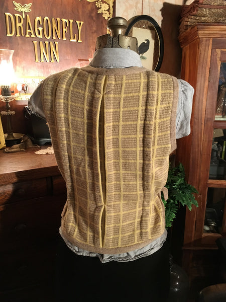 Yellow Plaid Sweater Vest Size Large