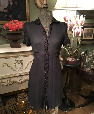 Brown Silk Collared Dress Size 4 Small