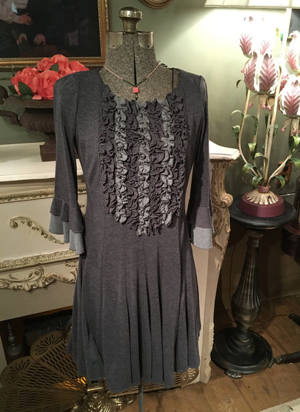 Gray Ruffle Front Dress Size Medium Large