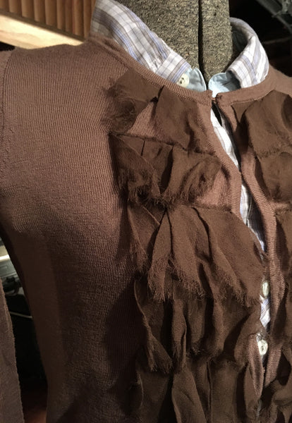 Brown Silk Ruffle Front Cardigan Size XS - Small