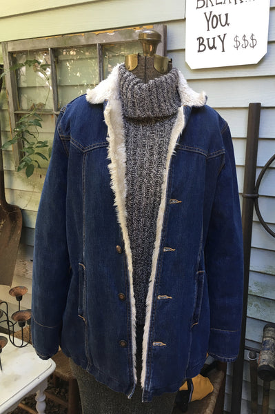 Long Denim Sherpa Lined Jacket Size Medium