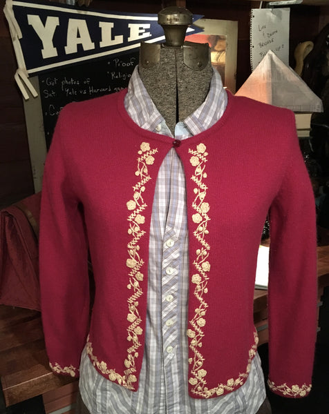 Deep Pink Embroidered Cardigan Size Small