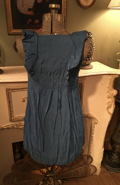 Blue Ruffle Neck Dress Small