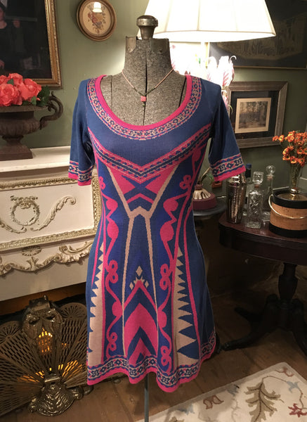 Pink and Blue Sweater Dress Size Small