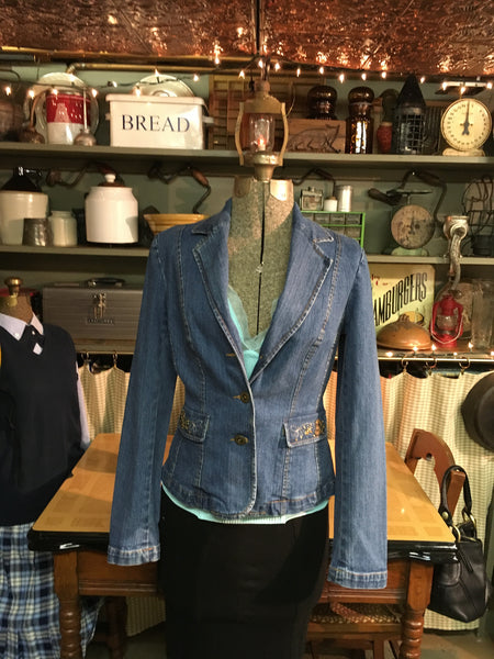 Denim Embroidered Blazer Jacket Medium