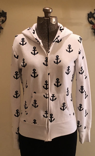 Anchor Zip Up Hoodie Size Small