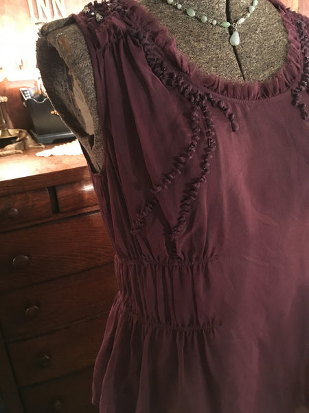 Plum Embroidered Silk Top Size Medium Large